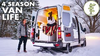 Download Winter Van Life - Couple Living in a Camper Van While Running a Business Video