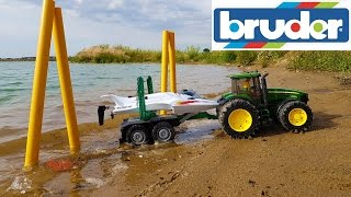 Download BRUDER toys vs. RC boat on the lake action Video
