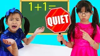 Download Emma & Jannie Pretend Play Choosing Teacher Profession for Kids Video