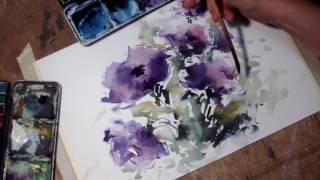 Download Hedwig's Art Purple flowers watercolor Video