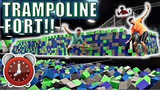 Download 24 HOUR OVERNIGHT CHALLENGE IN TRAMPOLINE PARK!!(*EPIC FOAM FORT*)!! Video