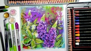 Download Lupine Flowers Mixed Media Time-Lapse Painting Video