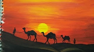 Download Desert Painting with Camels | Easy Landscape Painting for Beginners | Acrylic Painting Tutorial Video