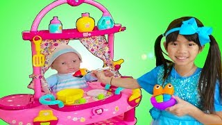 Download Emma Pretend Play w/ Little Cry Baby Doll Nursery Play House Playset Video