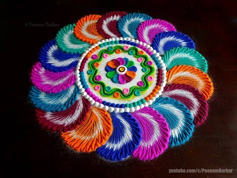 Colorful and attractive rangoli for Navaratri | Easy rangoli designs by Poonam Borkar
