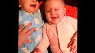 Download The difference between boy & girl baby twins laughing from tickles! Video