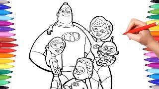 Download INCREDIBLES 2 Coloring Pages | Coloring Mr Incredible Elastigirl Violet Flash Jack | The Incredibles Video