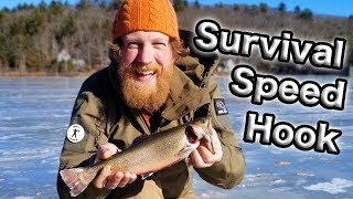 Download Ice Fishing With The Military Speedhook Survival Trapping Kit (87 days ep. 21) Video