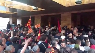 Download Protesters storm Macedonian parliament Video