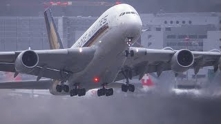 Download Airbus A380 + Wet Runway = Great Stuff! Video