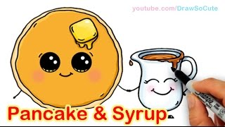 Download How to Draw Cartoon Pancake and Syrup Breakfast Cute and Easy Video