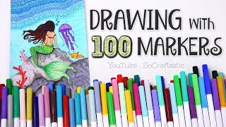 Download 100 MARKERS, 1 DRAWING - Mermaid Ocean Scene - Crayola Challenge | SoCraftastic Video