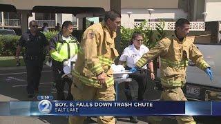Download 8-year-old boy falls down Salt Lake trash chute Video