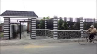 Download Mẫu Cửa cổng sắt Giả Gỗ + mái ngói + hàng rào CK323 Video