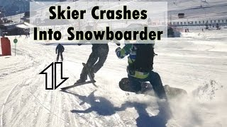Download Skier almost kills snowboarder Video