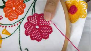 Download Hand embroidery net stitch flower design by Nakshi Kantha World Video