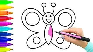 Download Exemplo simples como desenhar borboleta | Livro de colorir com marcadores coloridos Video