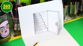 Download ILUSIONES OPTICAS - ESCALERA Y PUERTA IMPOSIBLE EN 3D - DIBUJOS SORPRENDENTES Video