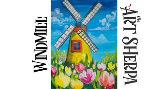 Download How to paint with Acrylic on Canvas Windmill Tulips Video