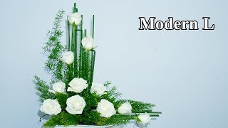 Download Modern L Flower Arrangement With White Rose at home, Ep 154 Video