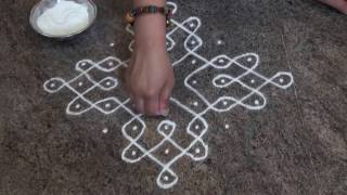 Download Daily rangoli/9 dots kolam/Easy Simple Rangoli/ಬಳ್ಳಿ ರಂಗೋಲಿ /balli(sikku) rangoli Video