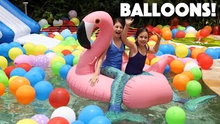 Download Little MERMAID SWIMMING IN a pool of BALLOONS! Fun Challenge! Disney Ariel Peppa Pig Shopkins Video