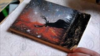 Download Soft Pastel drawing of a Deer in front of a Nebula Video