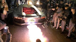 Download This Lamborghini Aventador is literally ON FIRE, HUGE FLAMES! Video