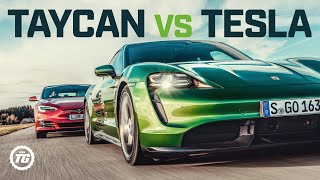 Download Porsche Taycan Turbo S vs Tesla Model S: DRAG RACE, FULL REVIEW AND VMAX | Top Gear Video