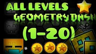 Download All levels Geometry Dash 1-20 [100%] [All Coins] Video