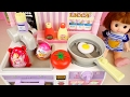 Download Baby doll kitchen and Kinder Joy Surprise eggs toys play Video