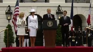 Download Trump, Macron deliver remarks at arrival ceremony Video