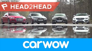 Download Audi A4 vs Mercedes C-Class vs BMW 3 Series vs Jaguar XE Saloons 2017 review | Head2Head Video