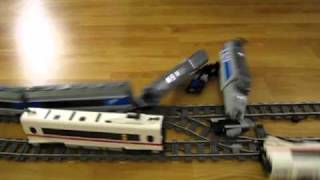 Download LEGO TGV and ICE 3 high speed crash on double track 9V train layout Video