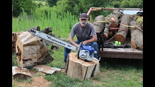 Holzfforma Farmertec G660 chainsaw cutting wood Free Download Video