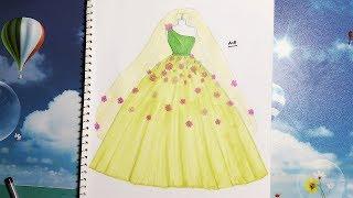 Download Draw a Green Wedding Dress 13 - Vẽ Váy Cưới 13 - An Pi TV Coloring Video