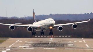 Download STORM !! Crosswind Landings at Düsseldorf - Airbus A380, A340, Boeing 777, B767 ... Video