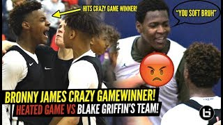 Download Bronny James CRAZY TRIPLE OT GAME WINNER VS BLAKE GRIFFIN'S TEAM!! RESPONDS TO HEATED OPPONENT! Video