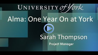 Download Resource management and acquisitions with Alma One Year on @ York Video