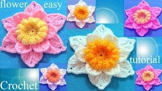 Download Como tejer a Crochet flores - Crochet 3D flower easy Video