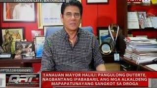 Download Mayor Halili: Pres. Duterte, nagbantang ipababaril ang mga alkaldeng mapapatunayang sangkot sa droga Video