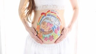 Download Pregnant Belly Painting for our Son (Oct. 14th 2016, 31 weeks 4 days) 授かりアート ベリーペイント (息子) Video