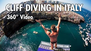 Download Cliff Diving From a Rocky Ledge in Italy | 360° Video (4K) Video