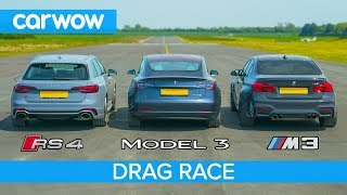 Download Tesla Model 3 vs BMW M3 vs Audi RS4 - DRAG RACE, ROLLING RACE & BRAKE TEST Video