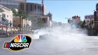 Download NASCAR drivers perform their best burnouts on Las Vegas Strip I NBC Sports Video