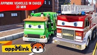 Download appMink car animation – Police car, crane truck, firetruck and Monster truck chase Video