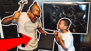 Download Destroying My Little Brother's GAMING SETUP WHILE HE'S PLAYING FORTNITE & Surprising Him w/ NEW ONE Video