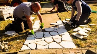 Download Building a STONE Patio in One Day / Natural Stone / DIY Patio Project Video