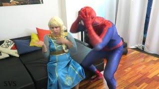 Download FROZEN ELSA vs EVIL ELSA w Spiderman vs Evil Queen Maleficent Superhero Fun in Real Life Video