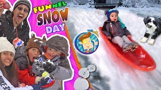 Download SNOW MUCH FUN! DON'T EAT YELLOW SNOW w/ Puppy Oreo ❄️ Tilted Snowman ⛄ FUNnel Vision Snow Day Vlog Video